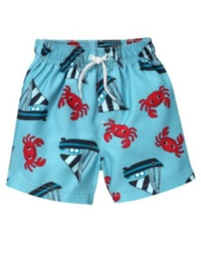 GYMBOREE SWIM SHOP BLUE w/ SAILBOAT N CRAB SWIM TRUNKS 6 12 18 24 2T 3T 5T NWT