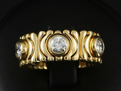 Schöner Bulgari Brillant Ring mit flexibler Ringschiene Parentesi 750/- Gelbgold
