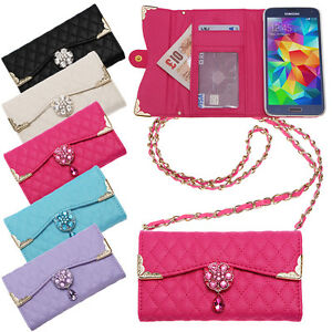 QUILTED-HANDBAG-CLUTCH-PURSE-CRYSTAL-FLOWER-WALLET-CREDIT-CARD-CASE-COVER