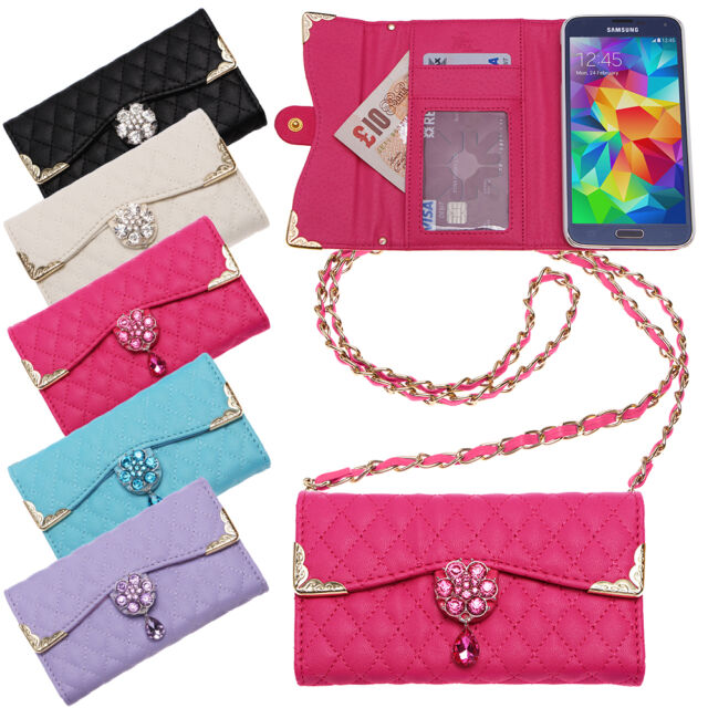 QUILTED HANDBAG CLUTCH PURSE CRYSTAL FLOWER WALLET CREDIT CARD CASE COVER
