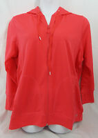 Womens Plus Size Lighterweight Zip Hoodie Sweat Jacket Thumb Holes In Watermelon