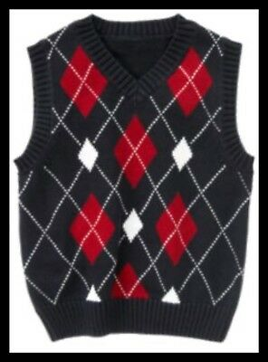 GYMBOREE PLAY BALL NAVY w// RED ARGYLE SWEATER VEST 3 4 5 6 7 8 10 12 NWT