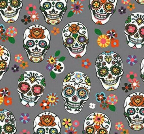 Tissu Calavera Crâne Tete de Mort Coton 100/% Popeline Fabrics Skull