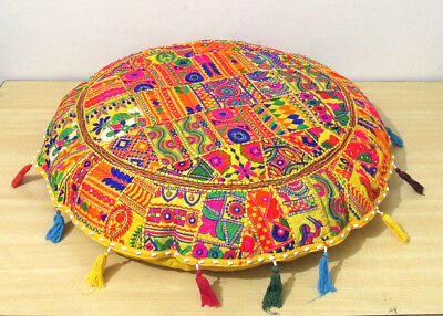 """Indian Patchwork Floor Pillow 32"""" Meditation Round Cushion Cover Ottoman Pouf Excellent Quality Furniture"""