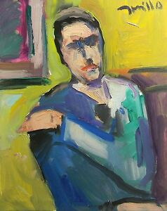 JOSE-TRUJILLO-Oil-Painting-ABSTRACT-Expressionist-16X20-034-Canvas-PORTRAIT-Figure