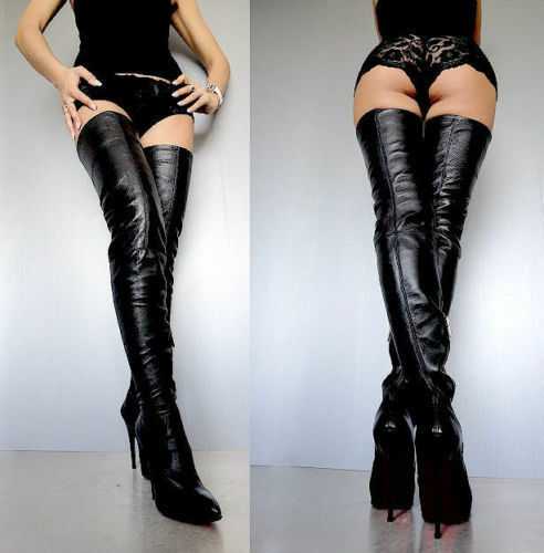 CQ COUTURE COUTURE COUTURE EXTREME STRETCH LUXE OVERKNEE Stiefel STIEFEL LEATHER BLACK SCHWARZ 35 a47db4