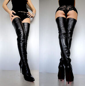 goedkoop fabriek welbekend Details zu CQ COUTURE EXTREME STRETCH LUXE OVERKNEE BOOTS STIEFEL LEATHER  BLACK SCHWARZ 45