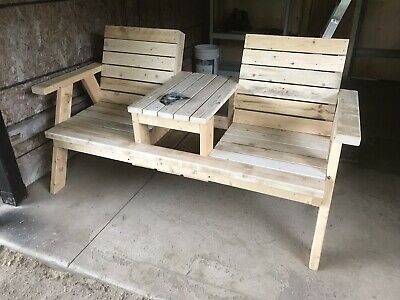 Outdoor Wood Furniture Bench With 2 Seats And Table Handmade In Canada Ebay