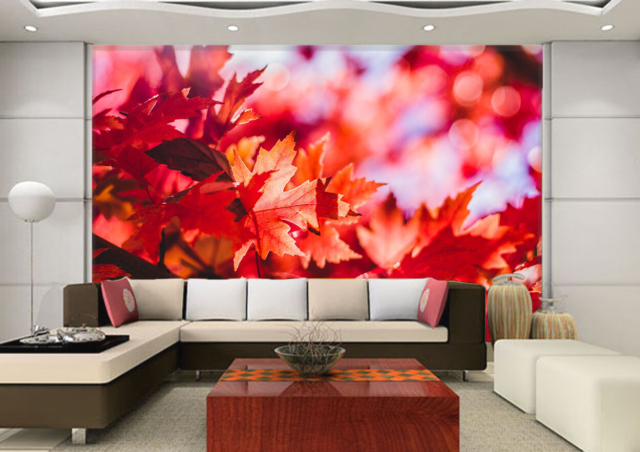 3D rot Leaves picture Wall Paper wall Print Decal Wall Deco Indoor wall Mural
