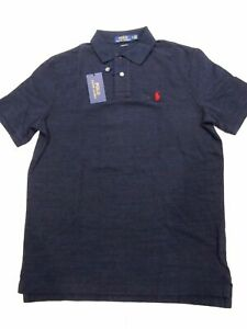 New-tag-NWT-Mens-RALPH-LAUREN-Navy-Blue-Heather-Short-Sleeve-POLO-Shirt-M-L