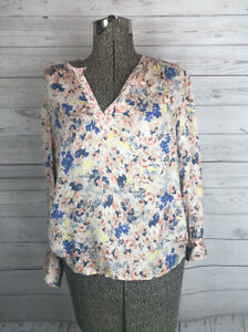 Rebecca Taylor Women's Blush Pink Floral Long Sleeve Silk Top Size 2