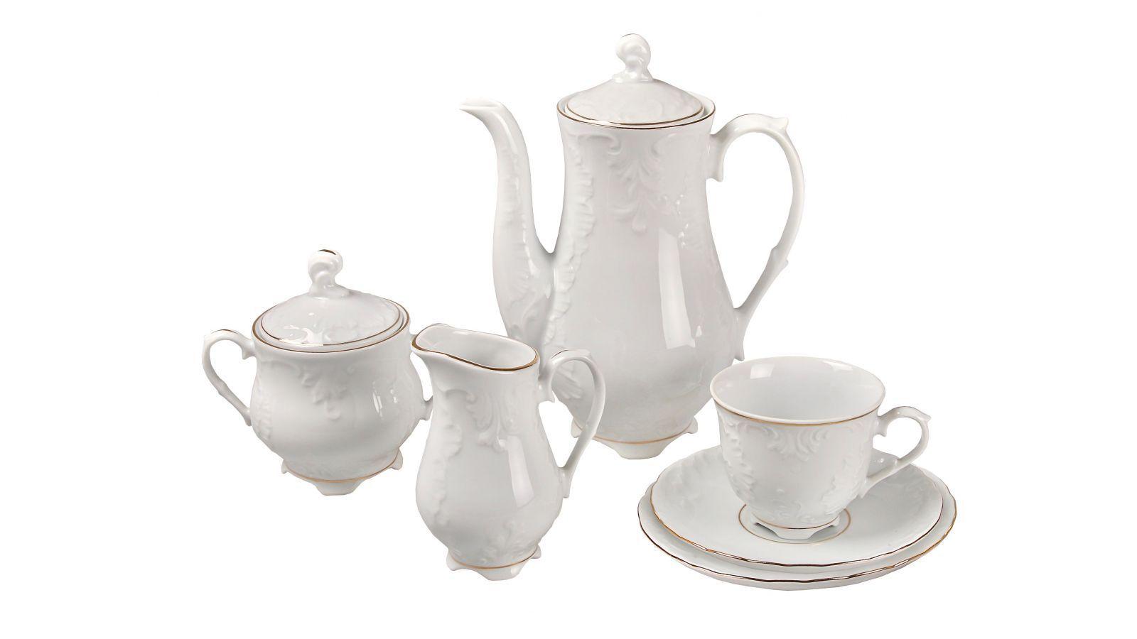 39 Pièces Porcelaine Tea Coffee Set Tasses soucoupes pot tasses théière fine or service