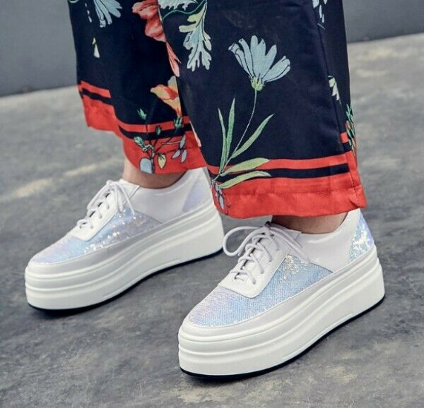 Womens Leather Sequin Sequin Sequin Lace Up Athletic Breathable Sneakers Platform shoes Lit01 88f16d