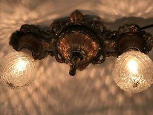 ANTIQUE VINTAGE ART DÉCO flush mount plafond mur Vanity Fixture 2 Ampoule Cuivre Vert