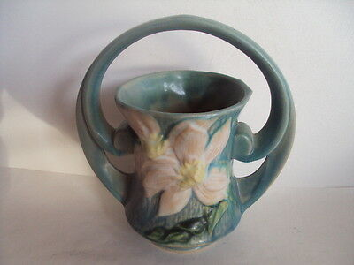 Vintage Roseville Clematis Vase With Handle 387 7 Very Cute Ebay