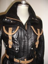 Lady's 3/4 lent Genuine 100% Napa Leather Jacket Black Zip, stud & Belt  Size S