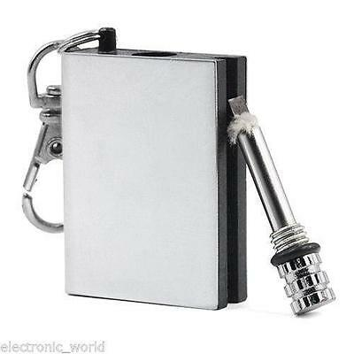 Permanent Metal Match Box Lighter Striker Keyring Gadget Military Novelty Flame