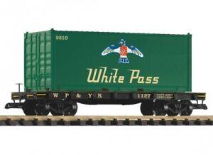 Piko-G-Flachwagen-mit-Container-White-Pass-Spur-G