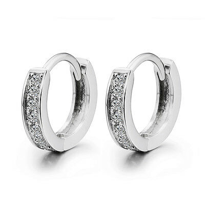 Solid 925 Sterling Silver Lady Pave White CZ Ear Huggie Hoop Earrings For Women
