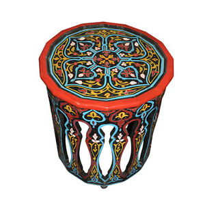 Moroccan round hand painted accent table moorish design for Moroccan hand painted furniture