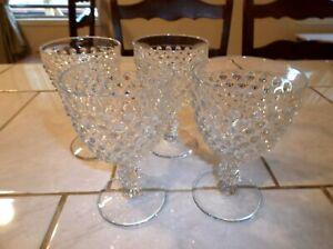 Lot-of-Four-Duncan-amp-Miller-Clear-HOBNAIL-Water-Goblets-5-3-4-inch
