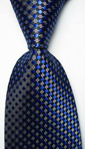 New-Classic-Checks-Dark-Blue-Black-White-JACQUARD-WOVEN-Silk-Men-039-s-Tie-Necktie
