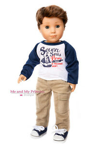 "NAUTICAL SHIRT + Corduroy Pants + SHOES for 18"" American Girl Boy Doll Clothes"