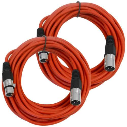 2 Pk SEISMIC AUDIO Pair of Red 25/' XLR Male to Female Microphone Patch Cables