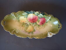 Vintage Hand Painted Celery Dish, P T Bavaria, signed Guillaume
