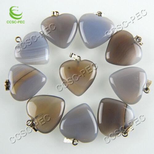 Wholesale 50X Heart Natural Gray Agate Gemme Plaqué Argent Perles Pendentif Gratuit