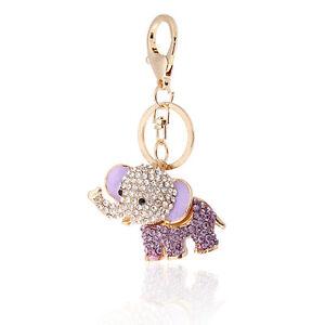2aba652e186 Details about Handbag Buckle Charms Accessories Purple Lucky Elephant  Keyrings Key Chains HK26