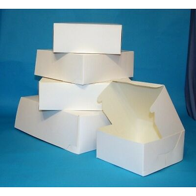 10 SMALL WHITE CAKE GIFT BOXES 6x6x2.5""