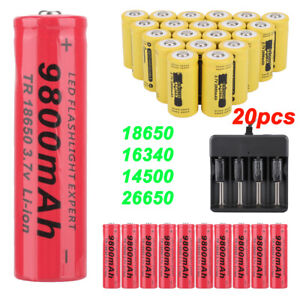 20X-Rechargeable-3-7V-9900mAh-Li-ion-Batteries-Battery-Charger-16340-18650-14500