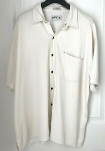 Orvis-Mens-XXL-Modal-Poly-Button-Shirt-Short-Sleeve-Ivory-Casual