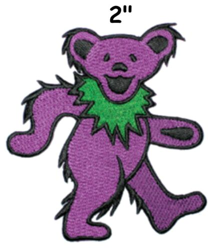"""Grateful Dead Garcia 2/"""" Pink Dancing Bear Logo Sew Iron On Embroidery Patch"""