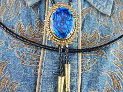 NEW HANDCRAFTED BLUE ABALONE  BOLO TIE GOLD METAL LEATHER CORD,GOTH,WESTERN