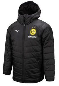Details about Puma Men BVB Dortmund Bench Padded Jacket Winter Black Warm Coat Padded 75348902