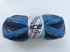 Color 51262 100 grams Green//Yellow//Blue//Black//White Ice Yarns Super Sock