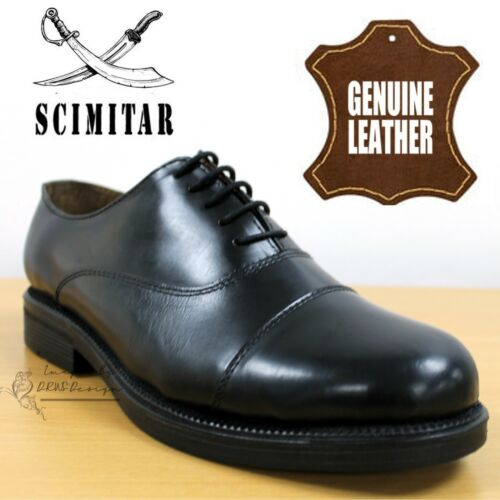 Scimitar Parade Boys Capped Oxford Cadet Boots Black Leather School Dress Shoes