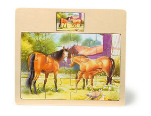 Puzzle-per-bambini-034-Famiglia-di-cavalli-e-puledro-034-12-pezzi-cornice-in-legno