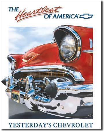 Vintage Replica Tin Metal Sign Chevy Bel Air Chevrolet Heartbeat Of America 820