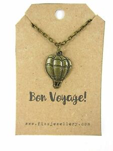 Bronze Hot Air Balloon Necklace Bon Voyage Message Card Quote