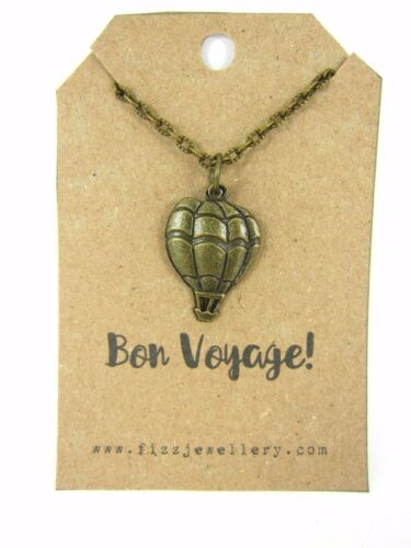 """Bronze Hot Air Balloon Necklace /""""Bon Voyage/"""" Message Card Quote Travelling Gift"""