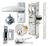 Adams Rite Type Storefront Door Dead Latch W/ Lever Handle & Lock Cylinder