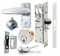 Adams Rite Type Storefront Door Dead Latch W/ Lever Handle & Lock Cylinder