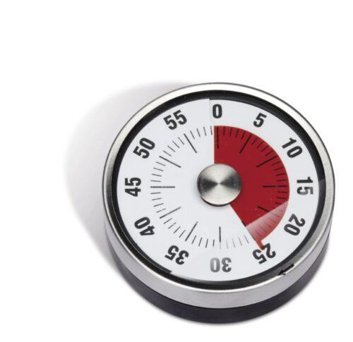 Minuteur argent blanc rouge Métal pour oeufs Horloge de cuisine 60 min REFLECTS