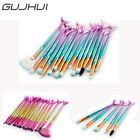 15pcs Fashion Beauty Blue/Pink Mermaid Shadow Soft Cosmetic Makeup Brush Set Kit