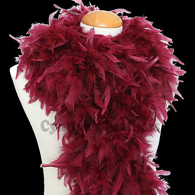 "100g 74"" long Burgandy / Burgundy Chandelle Feather Boa, very full & fluffy"