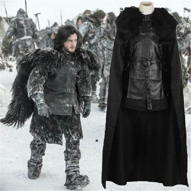 Jon Snow Men Game of Thrones Cosplay Costume Halloween Cloak Outfit US Stock