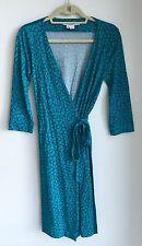 Diane von Furstenberg Meadow Teal Floral New Julian 2 Vintage Wrap Dress Sz 6
